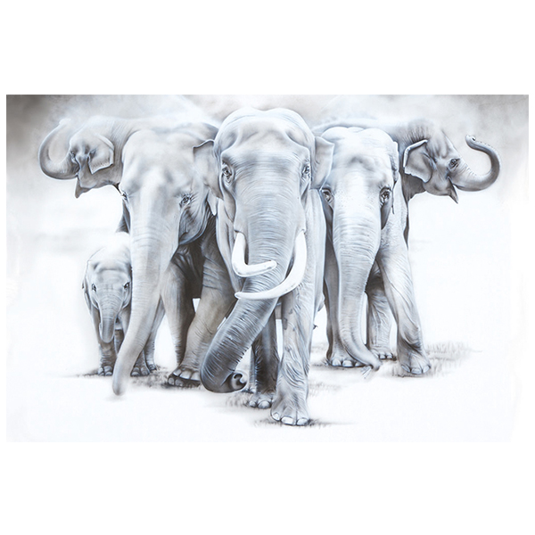 elephants in zoo painting NelumboArt