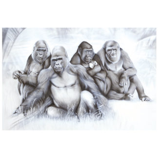 gorillas in zoo painting NelumboArt