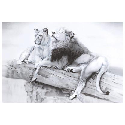 lions painting NelumboArt